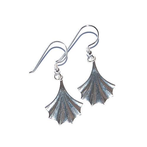 Ohrringe Blatt Fächer Silber