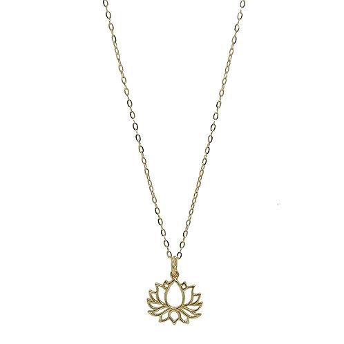 Halskette Lotusblüte Silber vergoldet