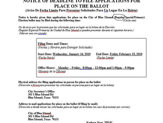 Notice of Deadline to File Applications for a Place on the Ballot