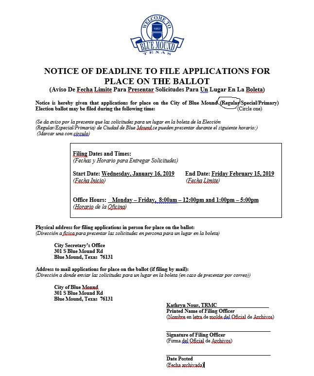 The City of Blue Mound is excited to begin the election process for the May 4th, 2019 elections. We welcome you to pick up an application for a place on the ballot. You may pick up the applications at the City Hall, 301 S Blue Mound Rd. Building B