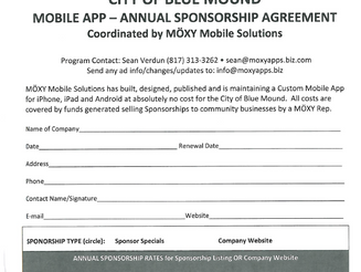 CITY OF BLUE MOUND - ANNUAL SPONSORSHIP - MOXY MOBILE SOLUTIONS