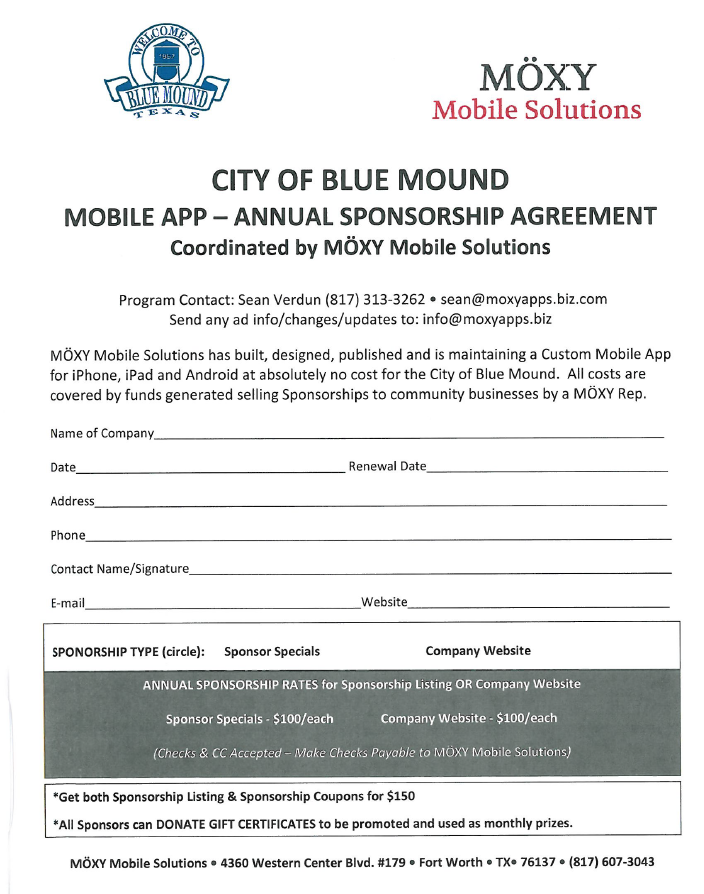 Sponsorship Agreement - Mobile App - The City of Blue Mound Mobile App is Supported by Local Business. Benefit your Local Business by Advertising with this Mobile App.