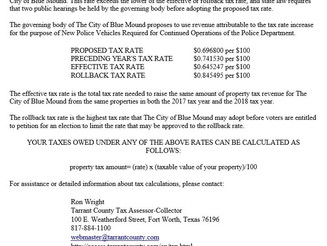 City of Blue Mound Notice of Proposed Tax Rate for FY 2018 - 2019