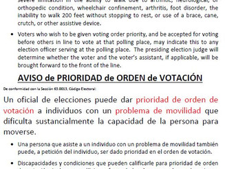 NOTICE OF VOTING ORDER PRIORITY