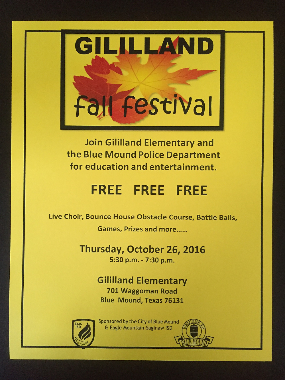 Join us at Gililland Elementary for our fall festival on October 26th @ 5:30PM!