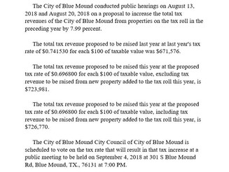 City of Blue Mound Notice of Tax Revenue Increase for FY 2018-2019