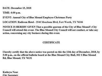 Notice of a Possible Quorum