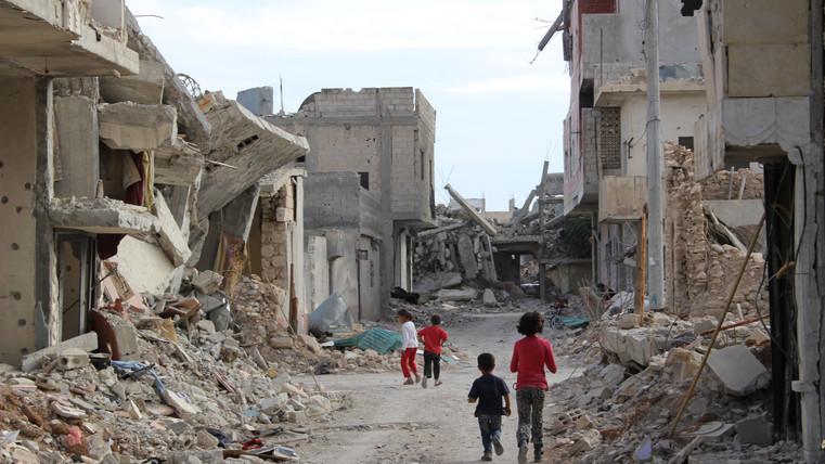 Kids in the ruins of Kobane