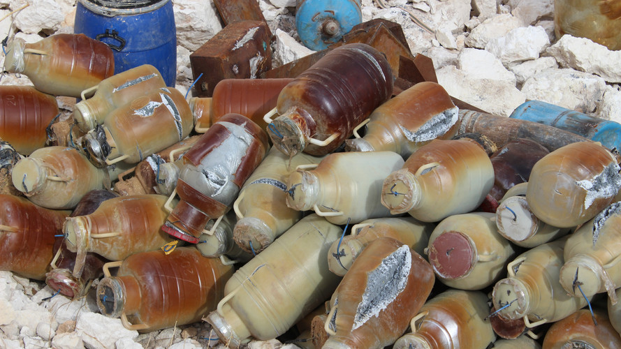 Plastic bottles filled with home made explosives