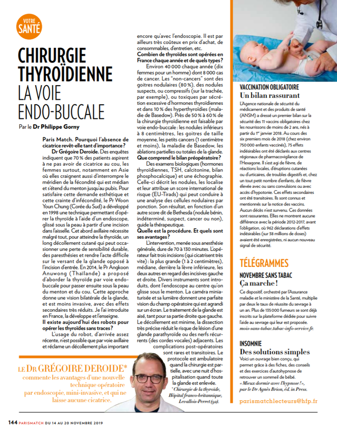 ABLATION DE LA THYROIDE SANS CICATRICE ( TOETVA ) Article Paris Match