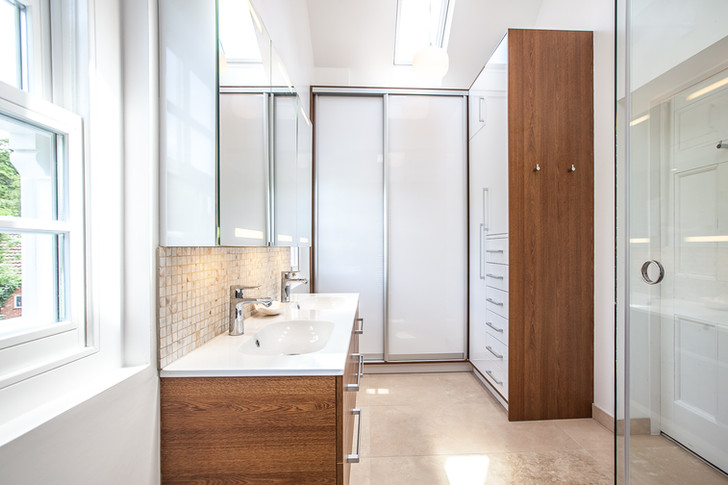 Master bathroom storage wardrobe