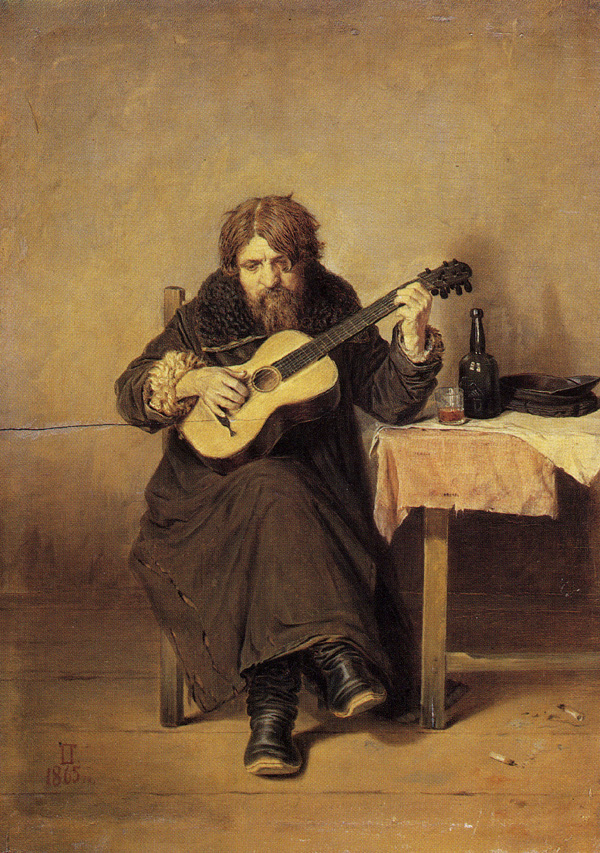 Perov Vasili G. - Lonely Guitarist. 1865, Oil on canvas. 31x22cm