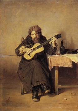 Perov Vasili G. - Lonely Guitarist. 1865, Oil on canvas. 31x22cm