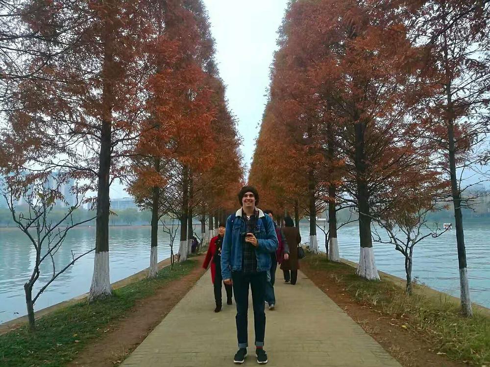 Harrison taking a stroll through the city.
