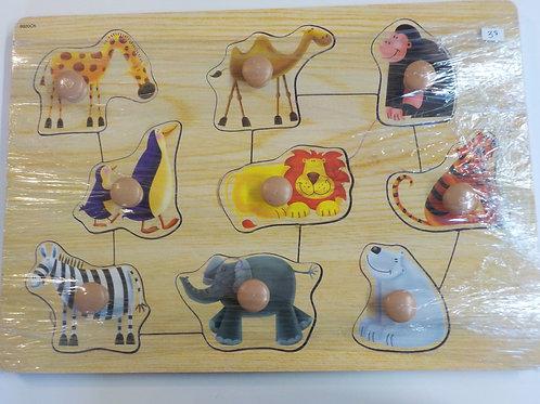 Casse-tête de bois 9 morceaux animaux du zoo fond bois 9920CK