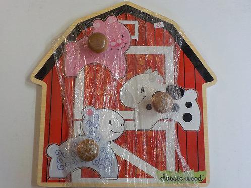Casse-tête de bois 3 morceaux animaux de la ferme Melissa & Doug