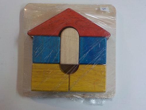 Casse-tête de bois 6 morceaux  Maison jaune-rouge-bleue