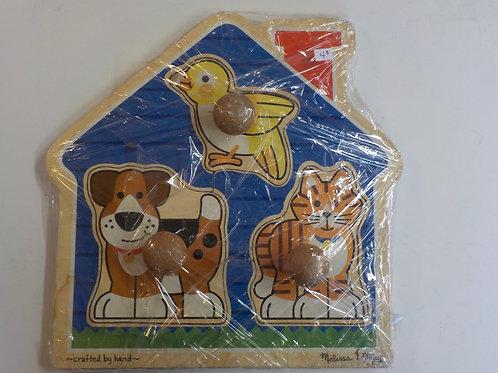 Casse-tête de bois 3 morceaux Animaux domestiques  Melissa & Doug