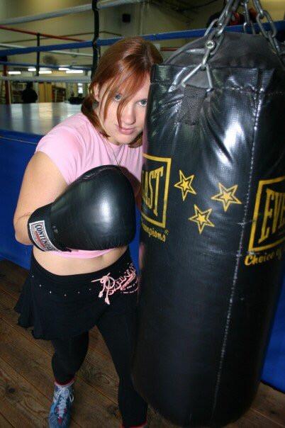 Cindy Banyai hitting heavy bag