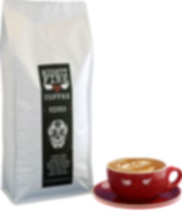 A bag of our amazing Kicks coffee and a coffee cup
