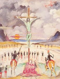 Guignard, Via Sacra, osm, 006-60, 40 X 40 cm , cena da Crucificação, décima segunda estação.
