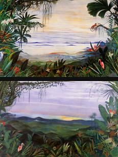 Floresta ao amanhecer (duas telas), 1942, 001/002-42, ost, 235 X 495 cm (cada tela).