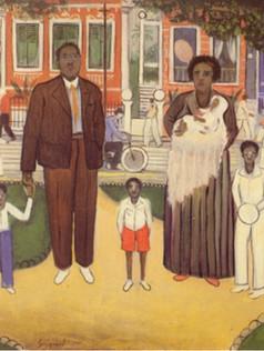 Família na Praça, 1940, 001-40, osm, 47 X 39 cm.