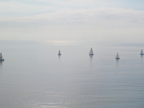 Sailboats on ocean.