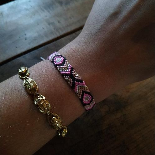 Bracelet plat Rose Noir