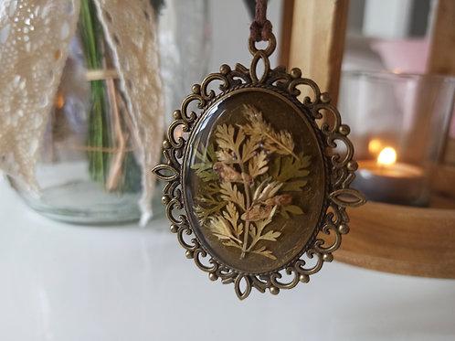 Pendentif collier Romantique mélange de Cerfeuil et Achillée