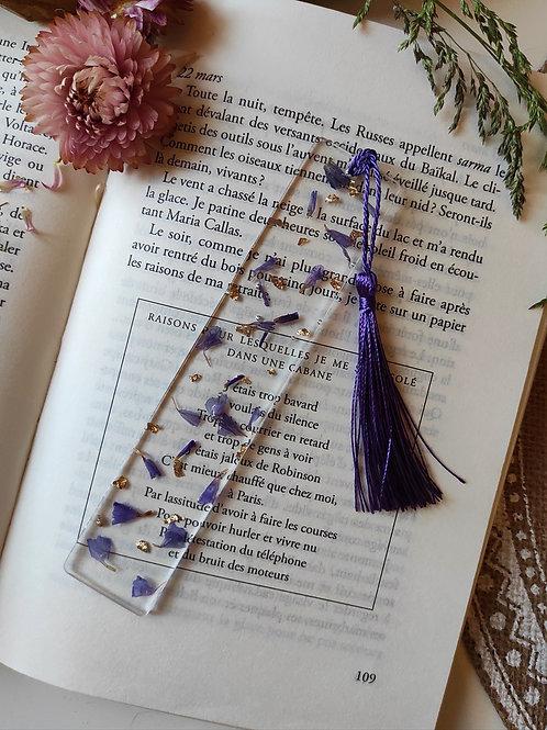 Marque Page Limonium Violet et feuille d'or