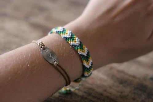 Bracelet plat vert et jaune