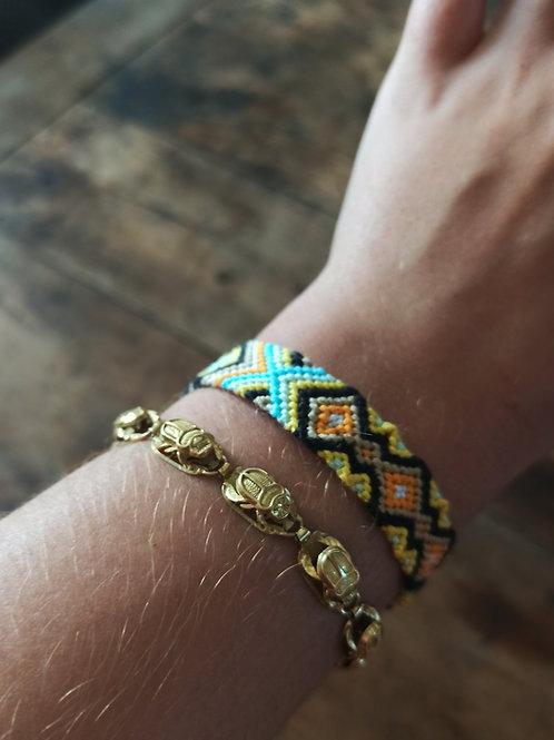 Bracelet plat Turquoise Or Orange