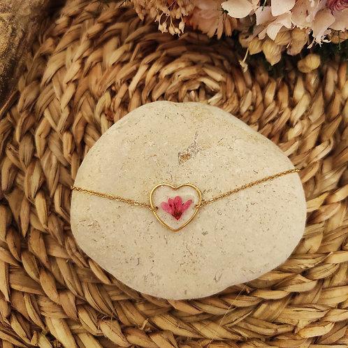 Bracelet acier inoxydable doré Fleur Rose 1