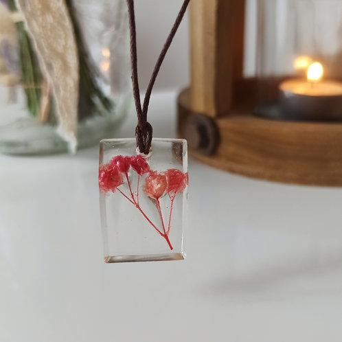 Pendentif collier Pureté Gypsophile rose