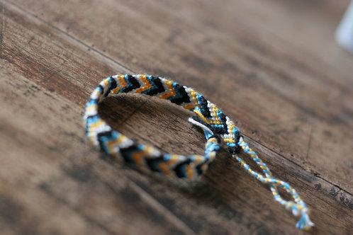 Bracelet plat Jaune Bleu