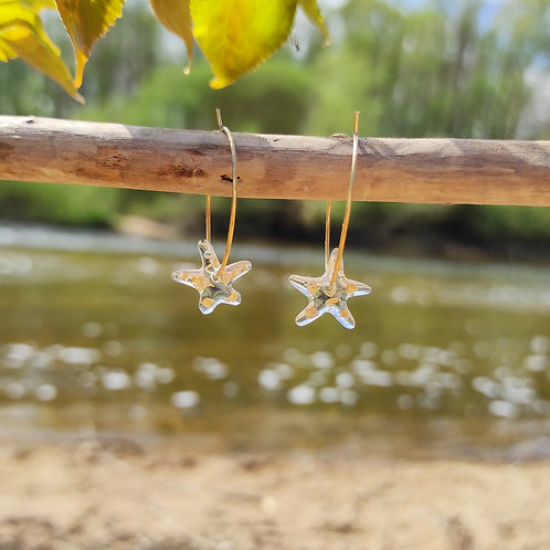 Boucles d'oreilles étoile transparente
