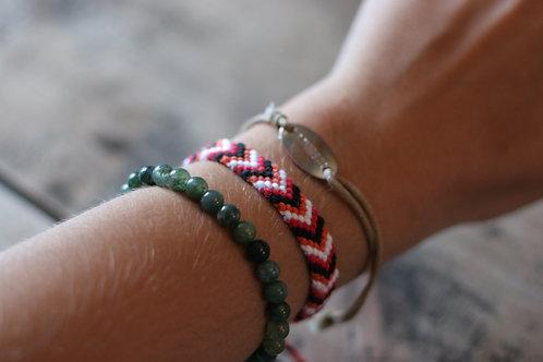 Bracelet plat Rouge Noir