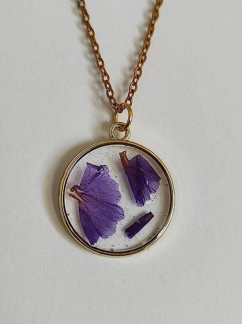 Pendentif Délicatesse Doré Statice violette rond