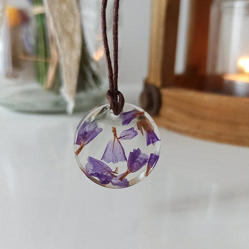 Pendentif collier Pureté Éclat de Limonium Violet
