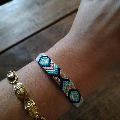 Bracelet plat Turquoise Doré