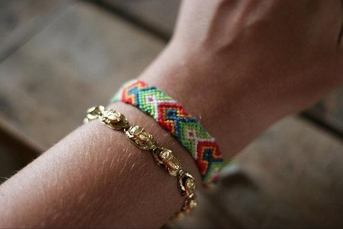 Bracelet plat Orange Rouge Vert