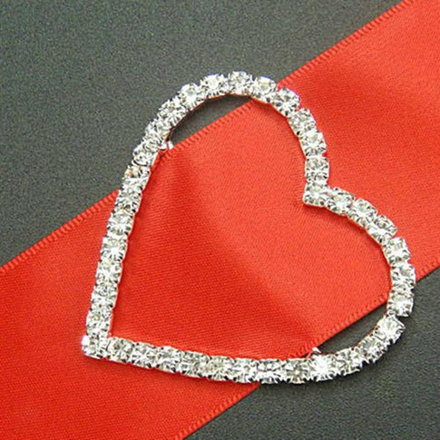 Silver Diamonte Heart Buckle