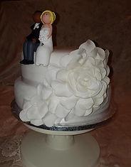 White Cascading flower wedding cake
