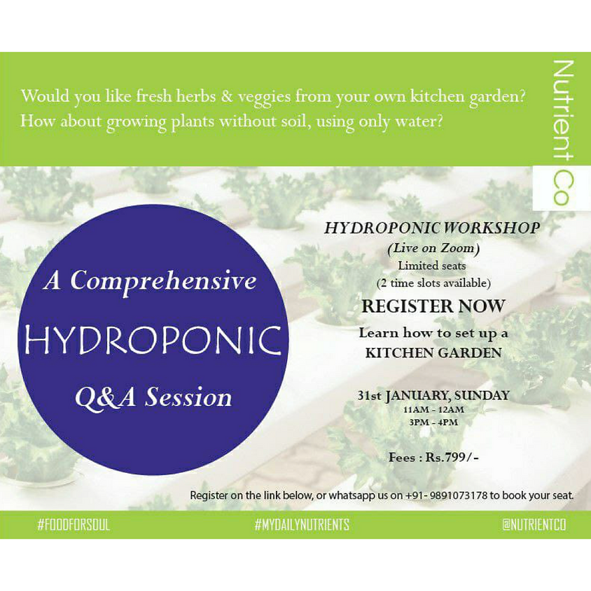 Hydroponic Q&A Workshop (2) 3pm-4pm