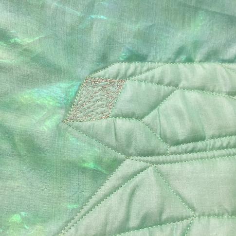 Detail on Quartz quilt, stretched