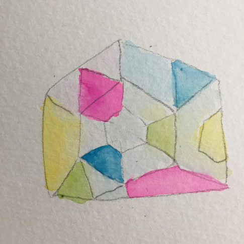 Watercolor sketch imagining opal