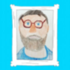 Drawn portrait of a white man with glasses and a beard, wearing a blue shirt. Drawn by Julian in San Jose, CA.