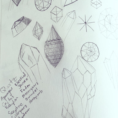 Sketches of gemstone cuts.