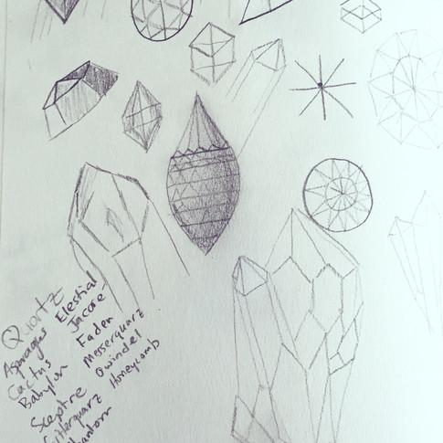 Sketches of gemstone cuts.